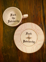 Fuck the Patriarchy | vulgar vintage style geometric print china tea cup and saucer