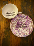 Fuck you very much | Vulgar vintage style purple stained glass print tea cup and matching saucer
