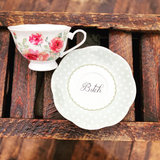 Go fuck yourself | vulgar vintage style floral china tea cup w/ matching 'Bitch' saucer