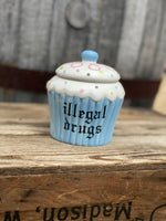 illegal drugs | vulgar cupcake shaped sugar bowl/stash box