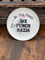 In this house WE PUNCH NAZIS | vulgar vintage Japanese Arita pink rose bread plate