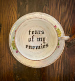 Tears of my enemies | vulgar vintage opalescent floral tea cup with saucer