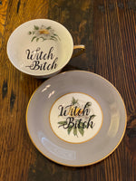 Witch Bitch | Vulgar vintage Princess China Golden Peony style tea cup and saucer with 22K gold edge
