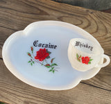 Cocaine & Whiskey | Vulgar vintage milk glass rose print 'Whiskey' tea cup and 'Cocaine' snack plate