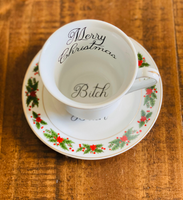 Merry Christmas Bitch | vulgar vintage style poinsettia print fine porcelain tea cup and saucer set