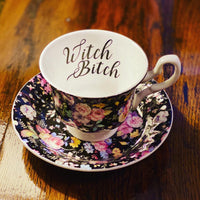 Witch Bitch | Vulgar vintage style black floral ornate tea cup and saucer