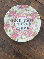 Fuck Y'all I'm from Texas | vulgar vintage pink plaid floral teacup and matching saucer