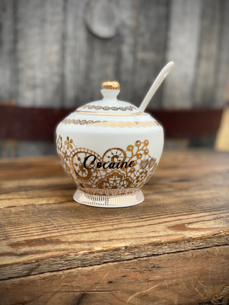 Cocaine | vulgar vintage style gold filigree print sugar bowl/stash box with spoon