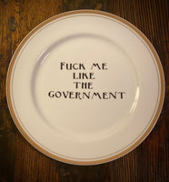 Fuck me like the government | vulgar vintage Sheffield Regency gold edge dinner plate