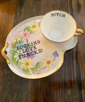 I fucking love snacks! | Vulgar vintage hand painted tea cup and snack plate