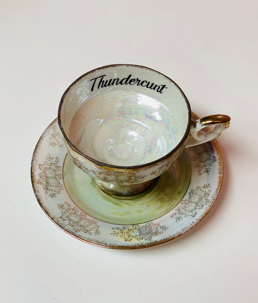 Thundercunt | Vulgar vintage pedestal tea cup and saucer set