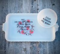 My drug of choice Vintage Fire king milk glass tea cup and snack plate