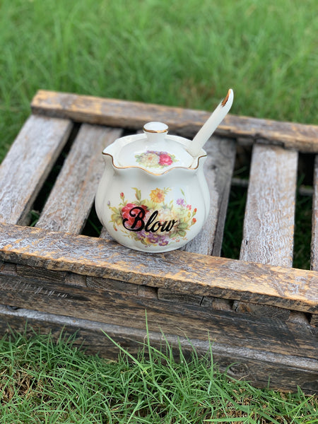Blow | Vulgar vintage style floral porcelain sugar bowl/stash box