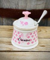 Cocaine | vulgar vintage style print sugar bowl/stash box with spoon