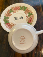 Fuck Off | vulgar vintage tea cup and matching 'Bitch' saucer
