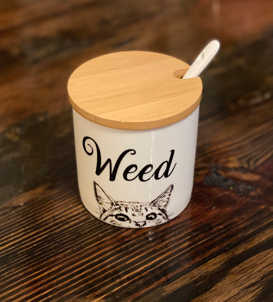 Weed | vulgar vintage style porcelain curious cat sugar canister/stash box