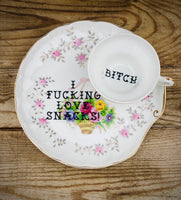 I fucking love snacks! | vulgar vintage rare bone china tea cup and snack plate