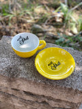 well, Shit | Vulgar vintage style yellow with white interior tea cup and saucer