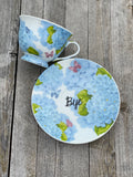You've been poisoned | vulgar blue hydrangea tea cup and matching 'Bye' saucer set