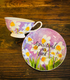 Spiritual as fuck | vulgar watercolor daffodil tea cup and matching saucer