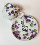 Thug life | vulgar vintage style lilac tea cup with matching saucer