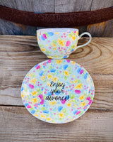 Enjoy your divorce! | vulgar vintage style lace floral tea cup and saucer