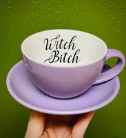 Witch Bitch | Vulgar vintage purple cappuccino cup and saucer