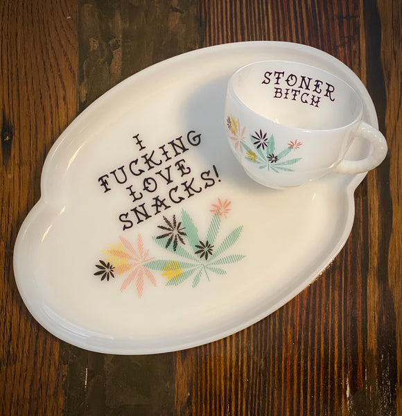 I fucking love snacks! | vulgar vintage rare 1950's milk glass tea cup and snack plate