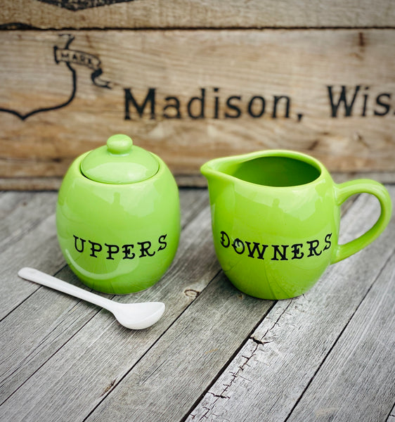 Uppers & Downers | Vulgar vintage style green creamer and sugar bowl