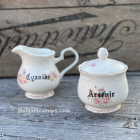 Cyanide and Arsenic | Vulgar vintage style floral print creamer and sugar bowl
