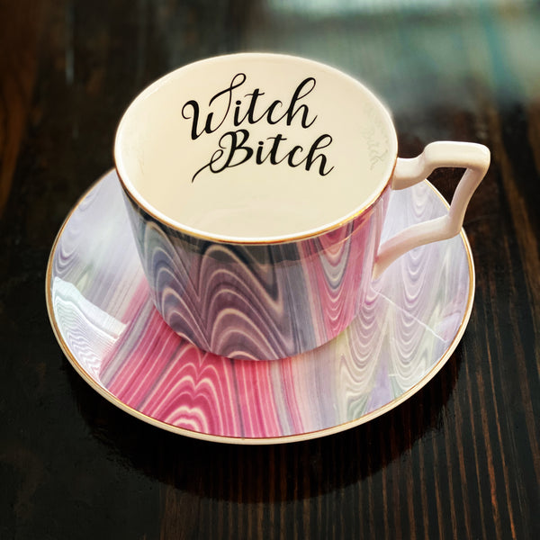 Witch Bitch | Vulgar vintage tie dye tea cup and saucer with 22K gold edge