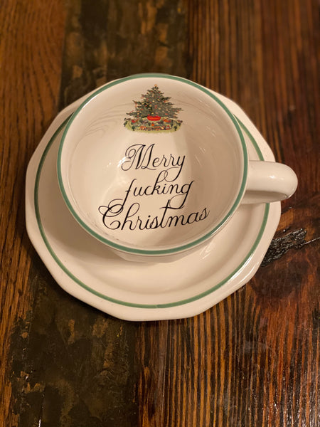 Merry fucking Christmas | vulgar vintage holiday tree print tea cup and saucer set