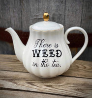 There is WEED in the tea. | vulgar vintage style white scalloped tea pot