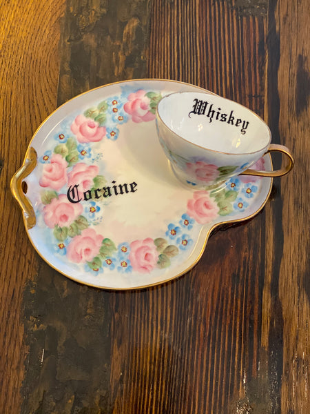 Cocaine & Whiskey | Vulgar vintage hand painted 'Whiskey' tea cup and 'Cocaine' snack plate