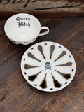Queen Bitch | vulgar vintage style china tea cup and saucer