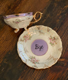 You've been poisoned. | Vulgar vintage floral tea cup with matching 'Bye' saucer