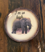 I'm so high. | Vulgar vintage elephant salad plate