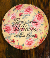 There's some Whores in this house | WAP vulgar vintage style floral 9in salad bowl