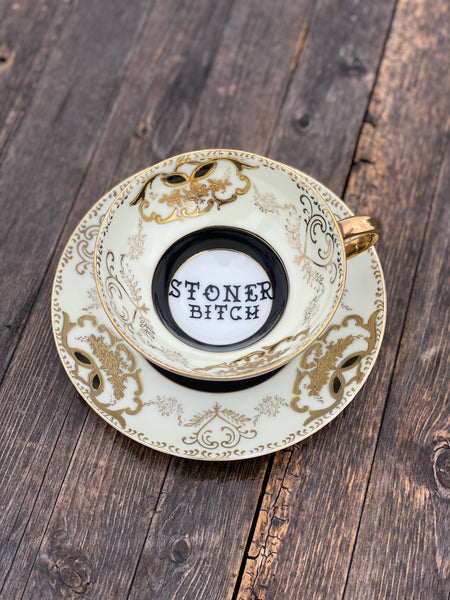 Stoner Bitch | vulgar vintage black and gold tea cup and saucer
