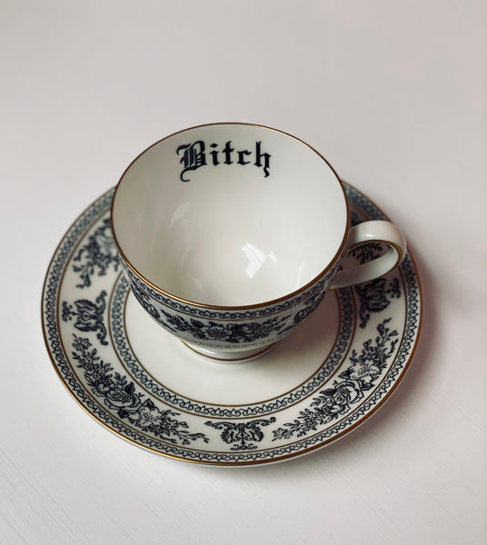 Bitch | Vulgar vintage Wedgwood black and white tea cup and saucer