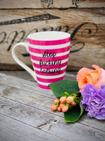 Stop fucking talking | Vulgar pink stripe coffee mug