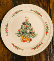 Merry fucking Christmas | vulgar vintage holiday dinner plate