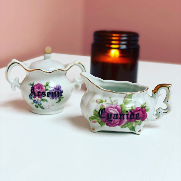 Cyanide and Arsenic | Vulgar vintage floral creamer and sugar bowl