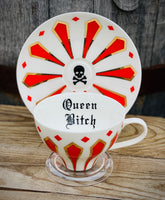 Queen Bitch | vulgar vintage style red royal china tea cup and saucer