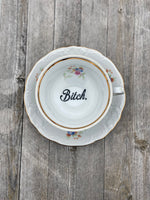 Happy fucking birthday | vulgar vintage numbered bone china tea cup and 'Bitch' saucer