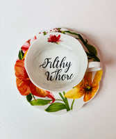 Filthy Whore | vulgar vintage tropical floral tea cup and saucer