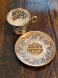 Boss Bitch | vulgar vintage gold edge tea cup and saucer