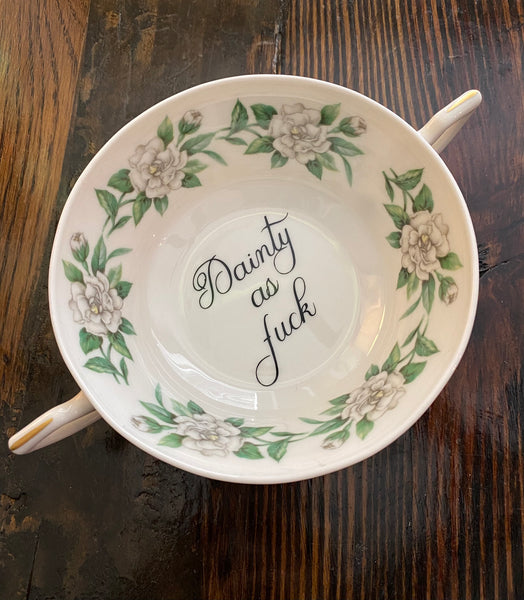 Dainty as fuck | vulgar vintage gardenia double handled tea cup