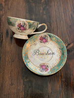 Bourbon | vulgar vintage gold edge tea cup and saucer