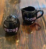 Drugs & Booze | Vulgar vintage style creamer and sugar bowl